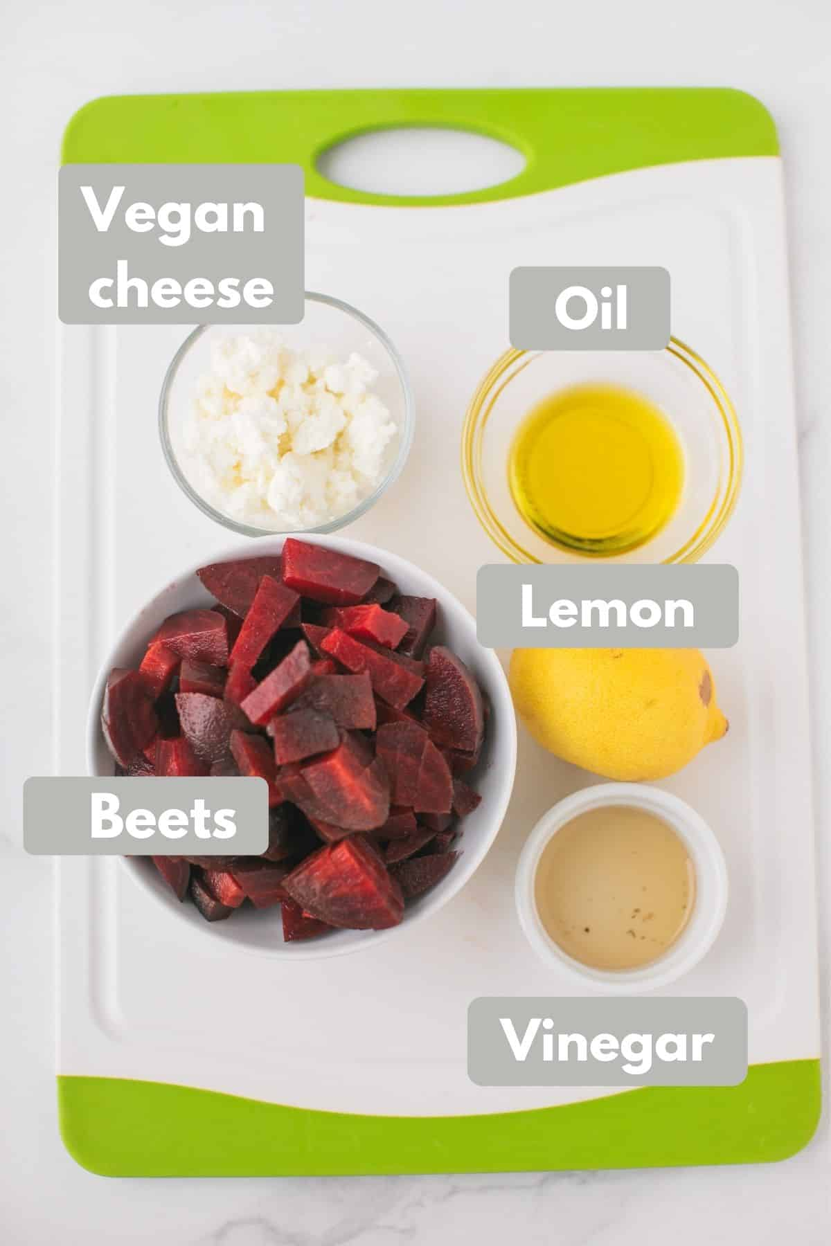 labeled photo with ingredients for cold beet salad