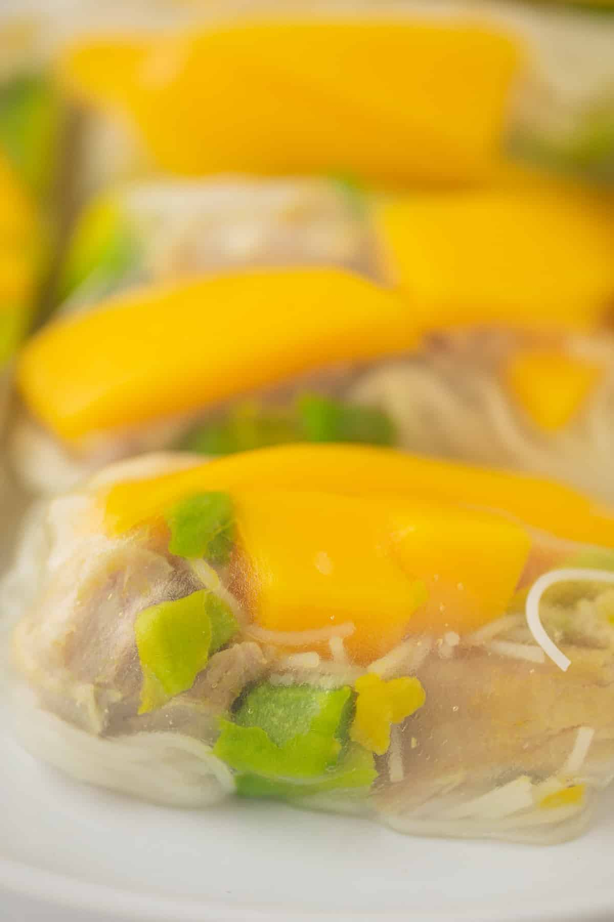 picture of summer roll up close to see the mango and avocado