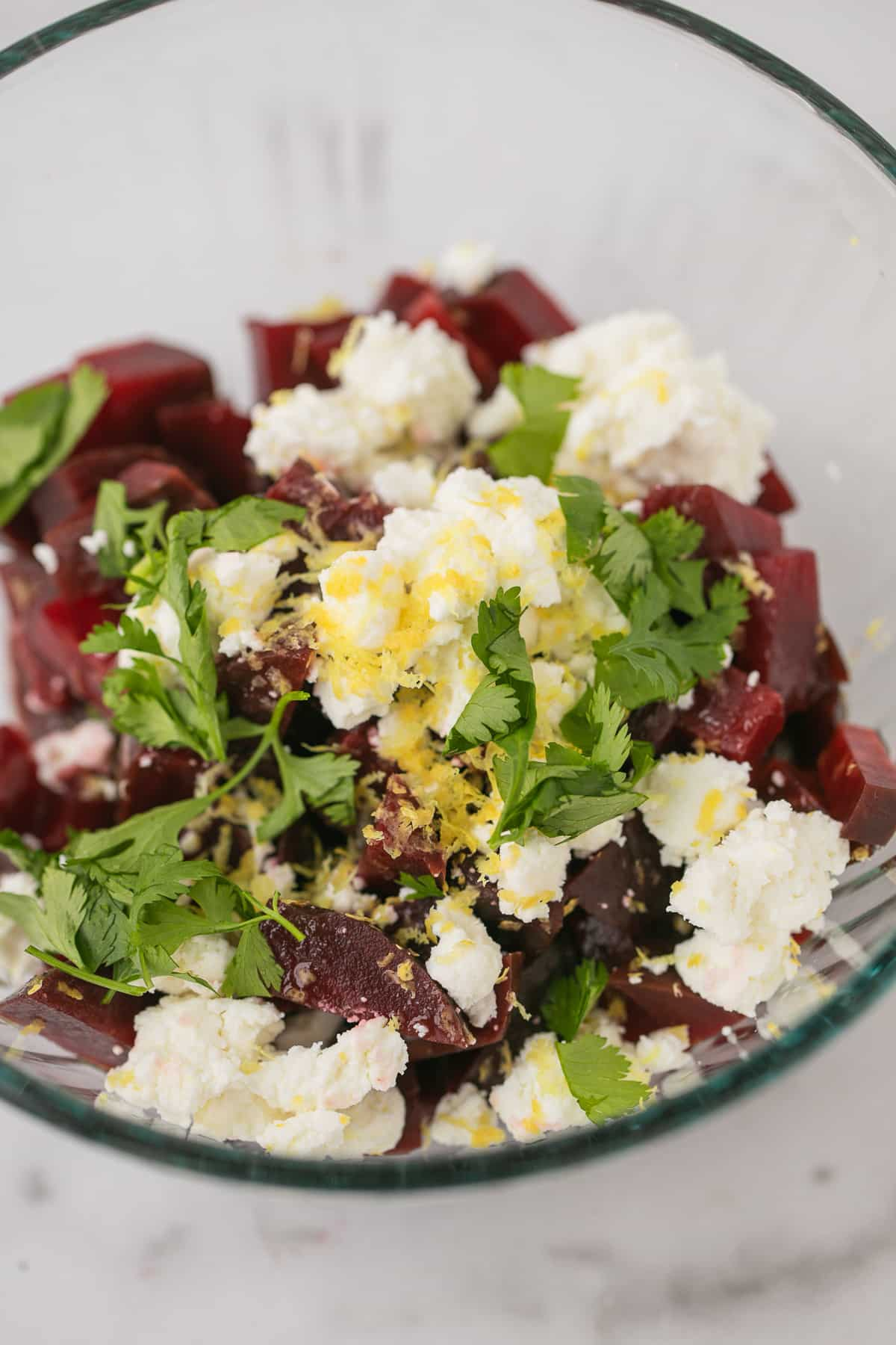 bowl of ingredients for cold beet salad recipe
