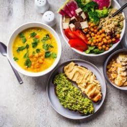assortment of plant-based dishes on a countertop