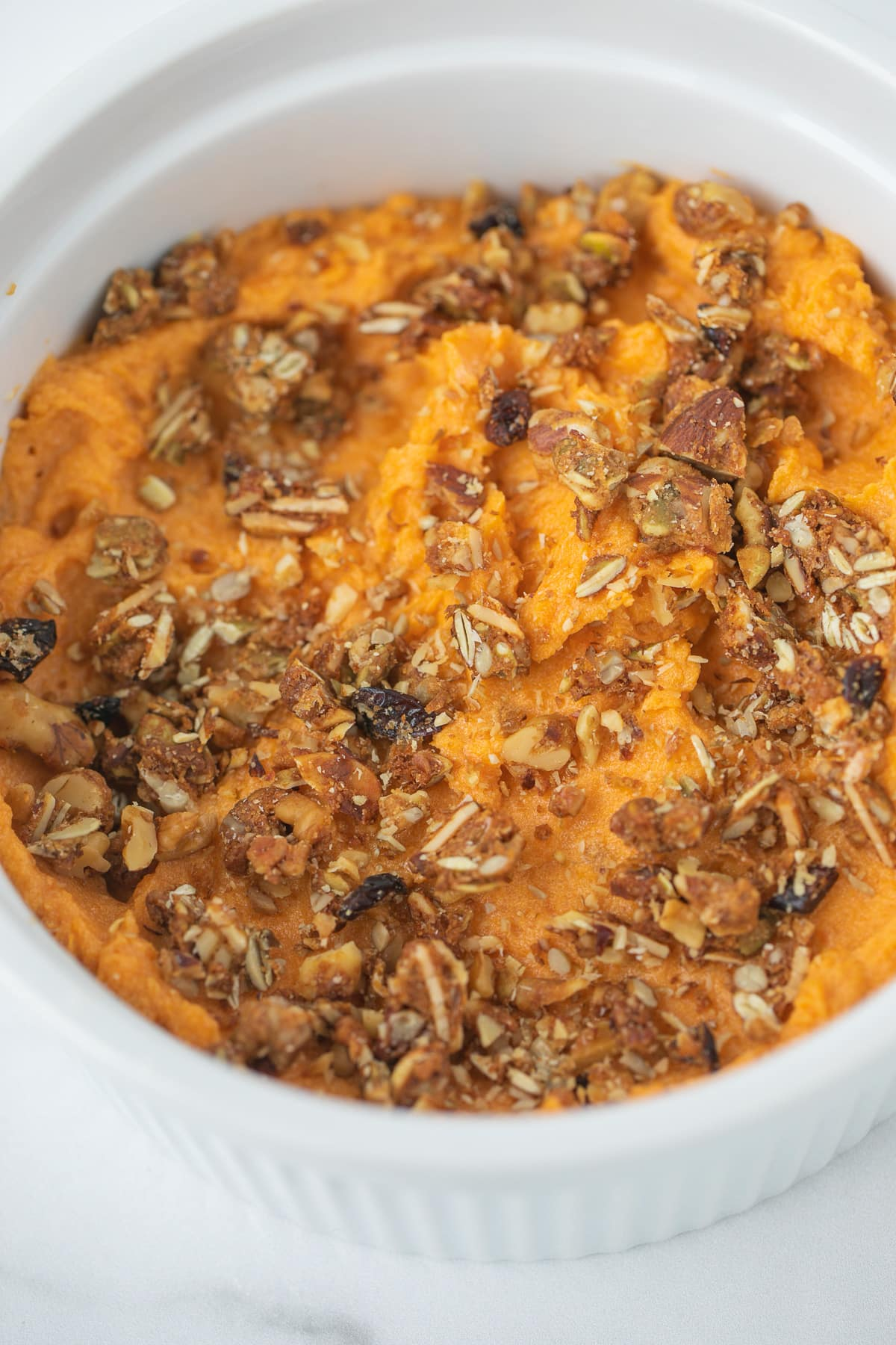 sweet potato souffle topped with gluten free granola