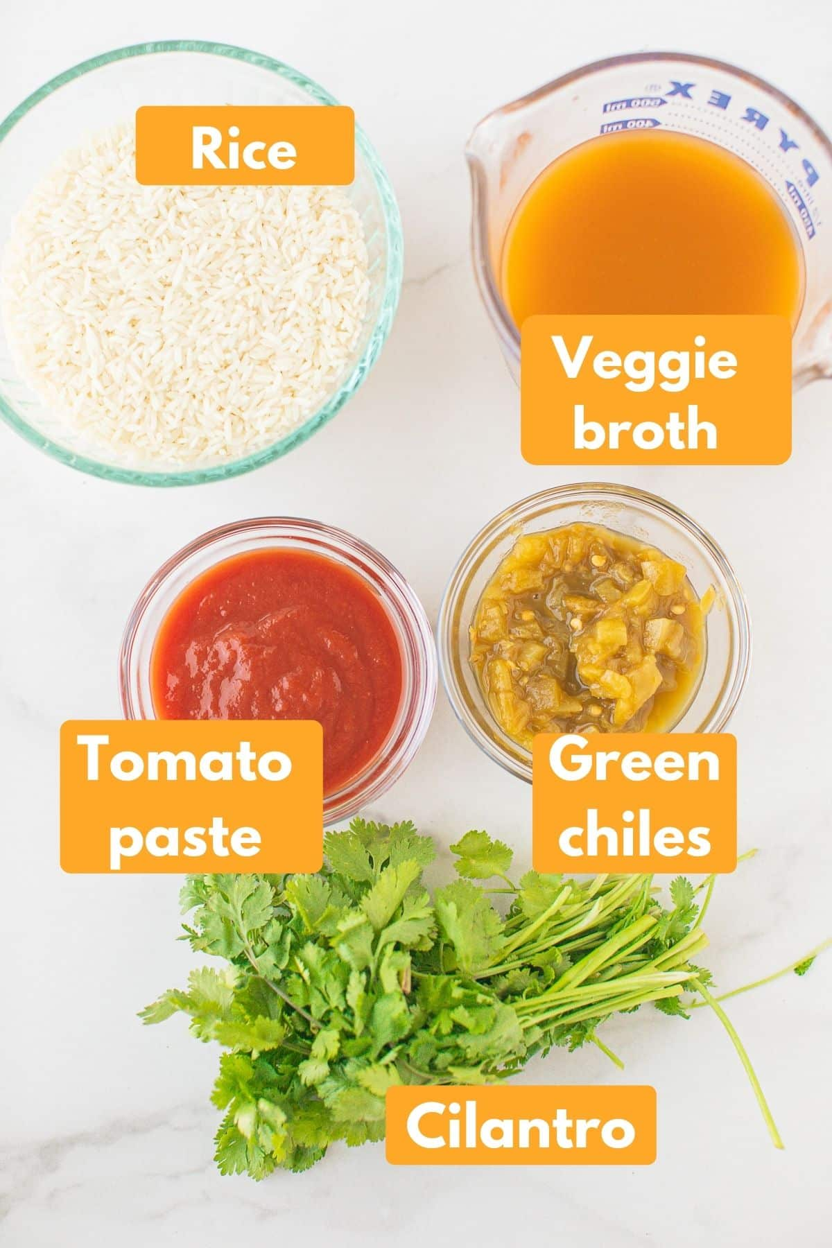 labeled photo with ingredients for spanish rice