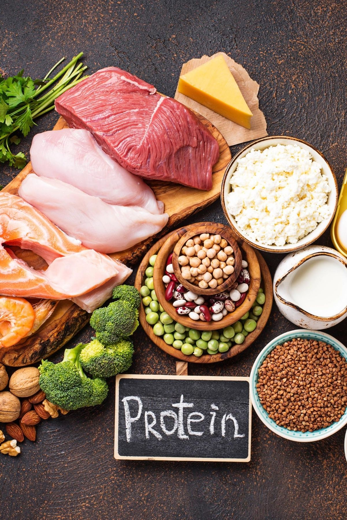 buffet of foods that are high in protein