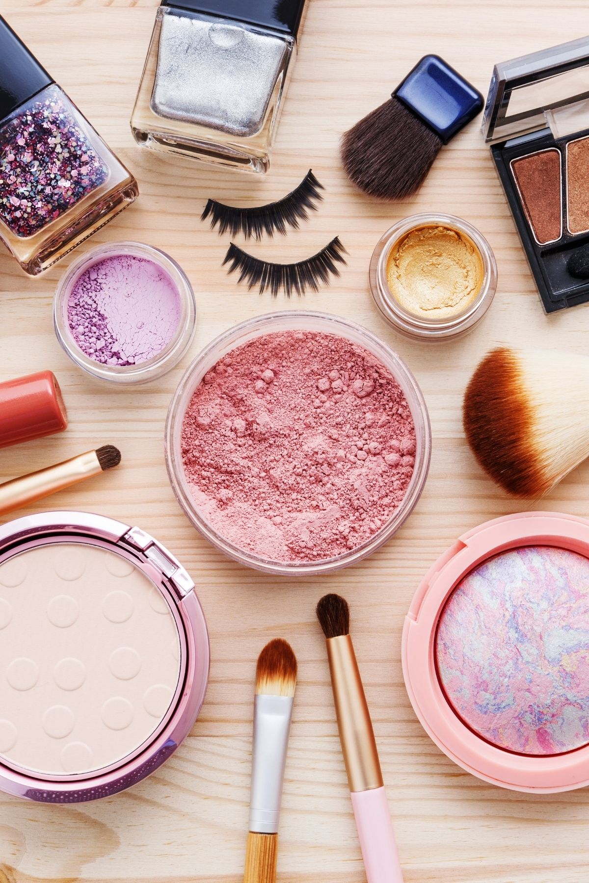 variety of cosmetics on a table