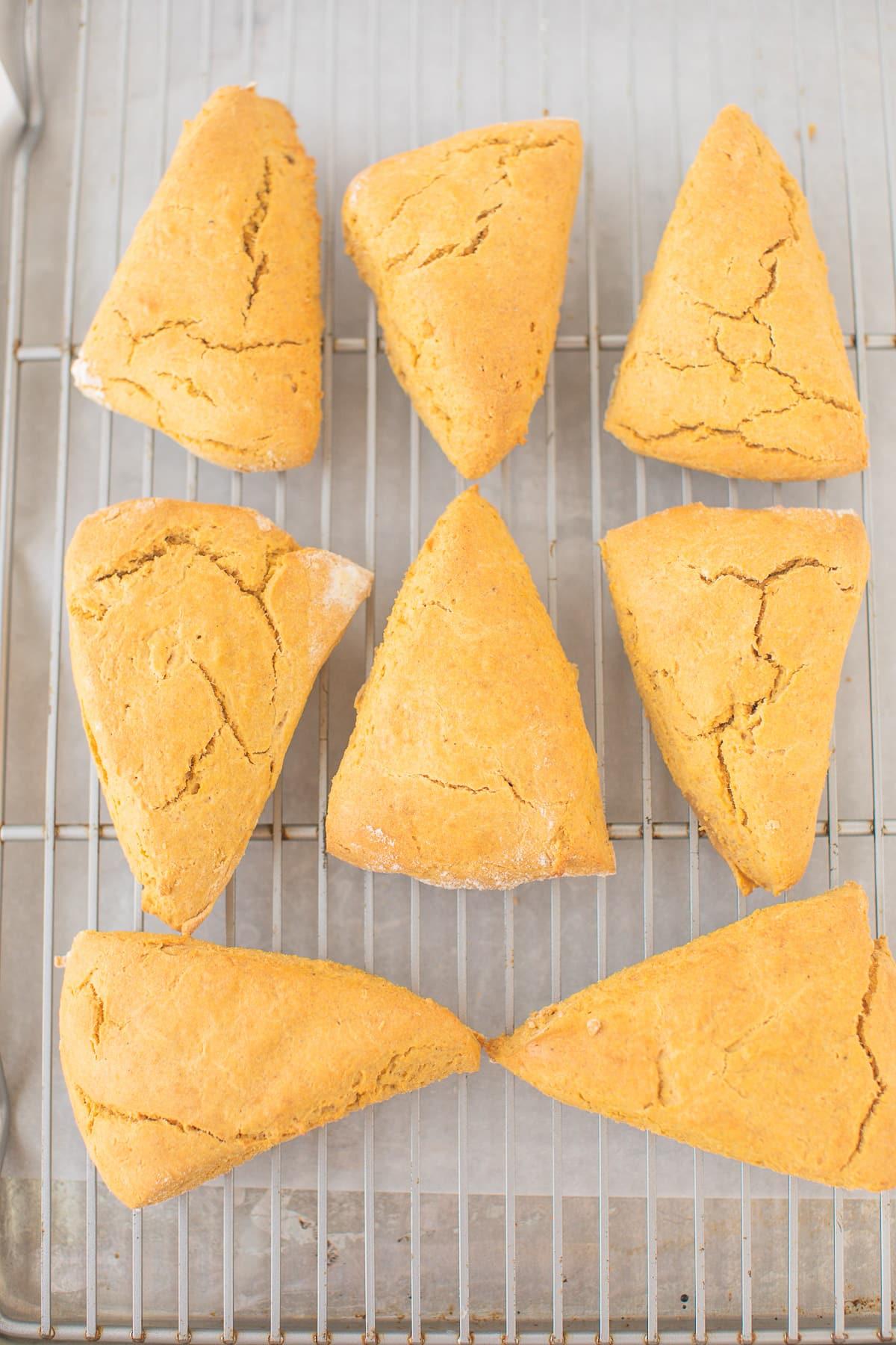 baked pumpkin scones on a cooling rack