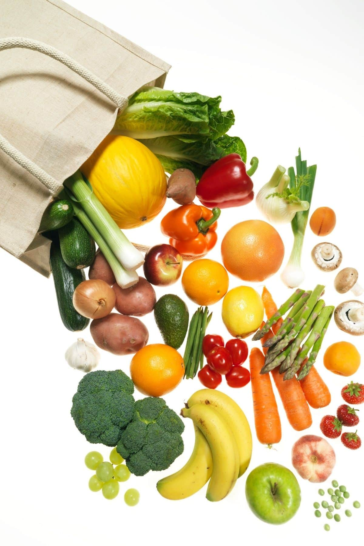 grocery bag with fresh foods