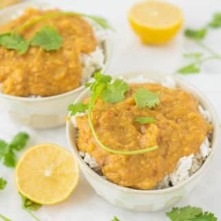 instant pot red lentil dal served in two bowls