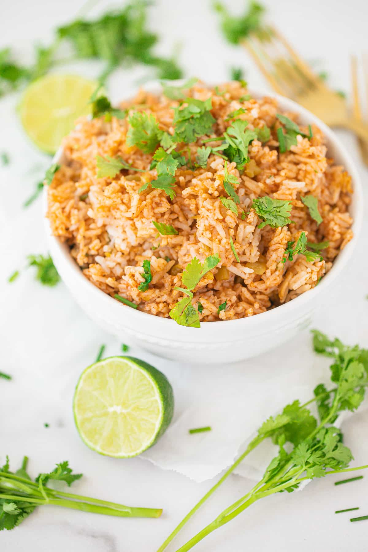 bowl of instant pot spanish rice with chopped cilantro on top