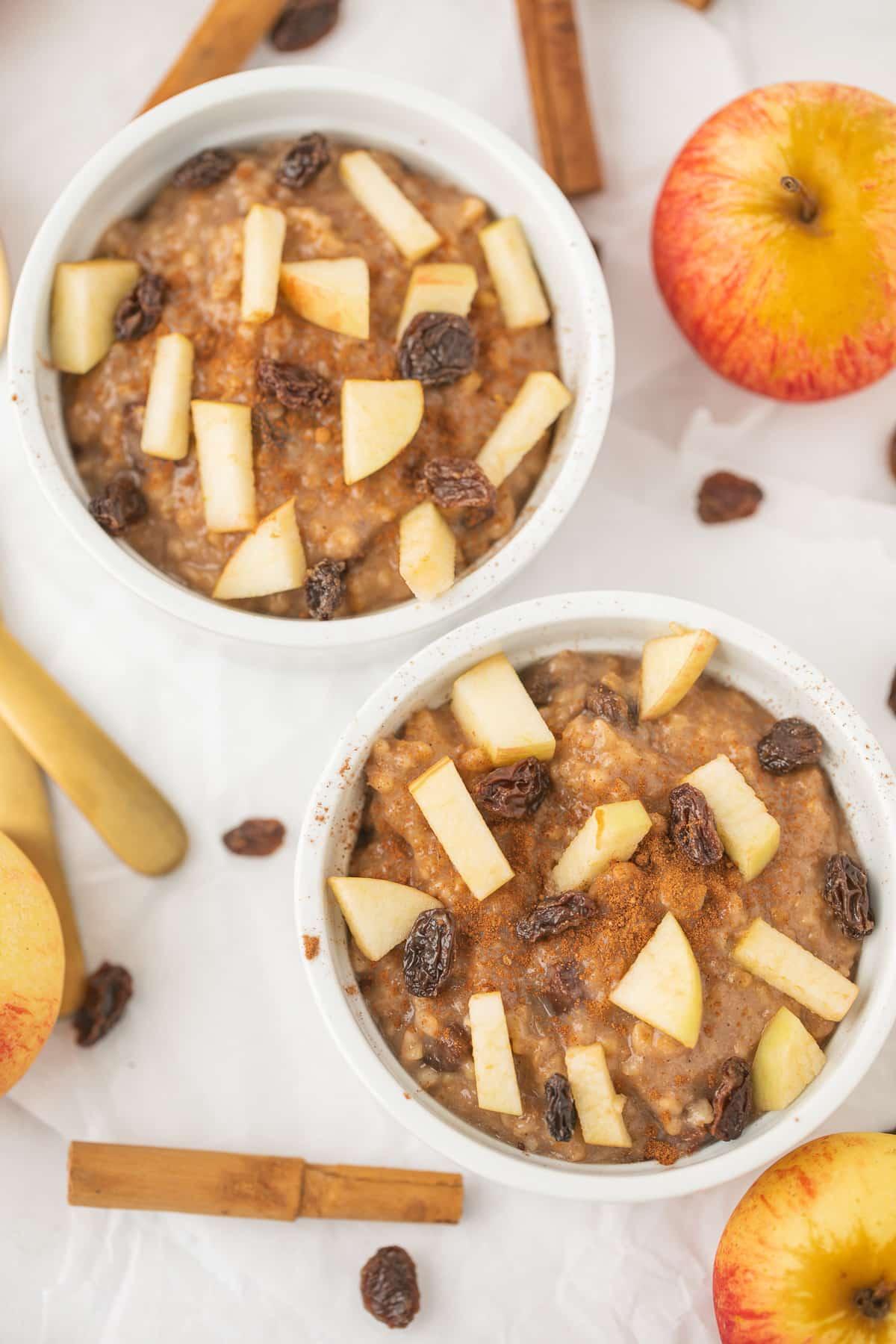 two bowls of instant pot apple cinnamon steel cut oats