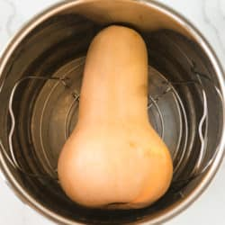 whole butternut squash in the bottom of an instant pot pressure cooker