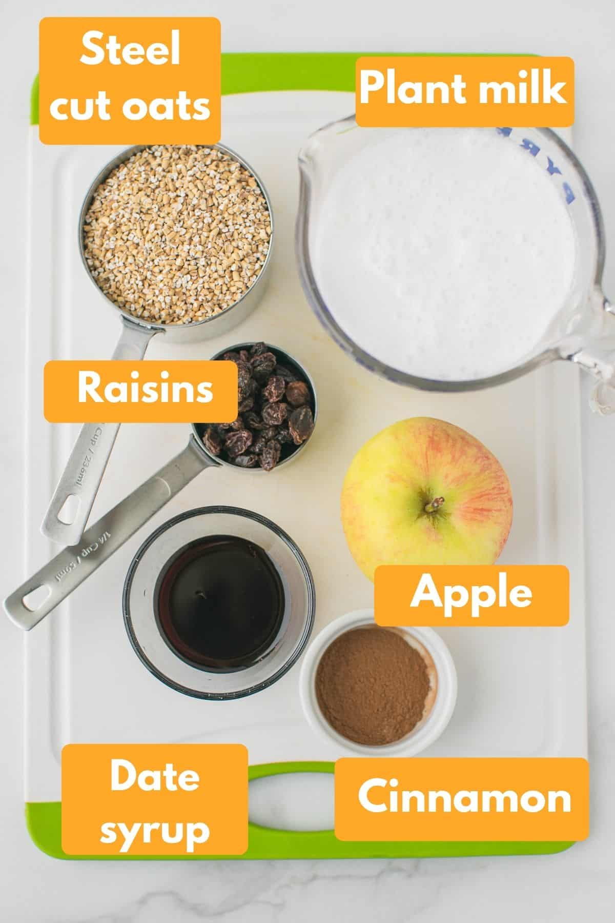 labeled photo with ingredients for instant pot steel cut oats with apple