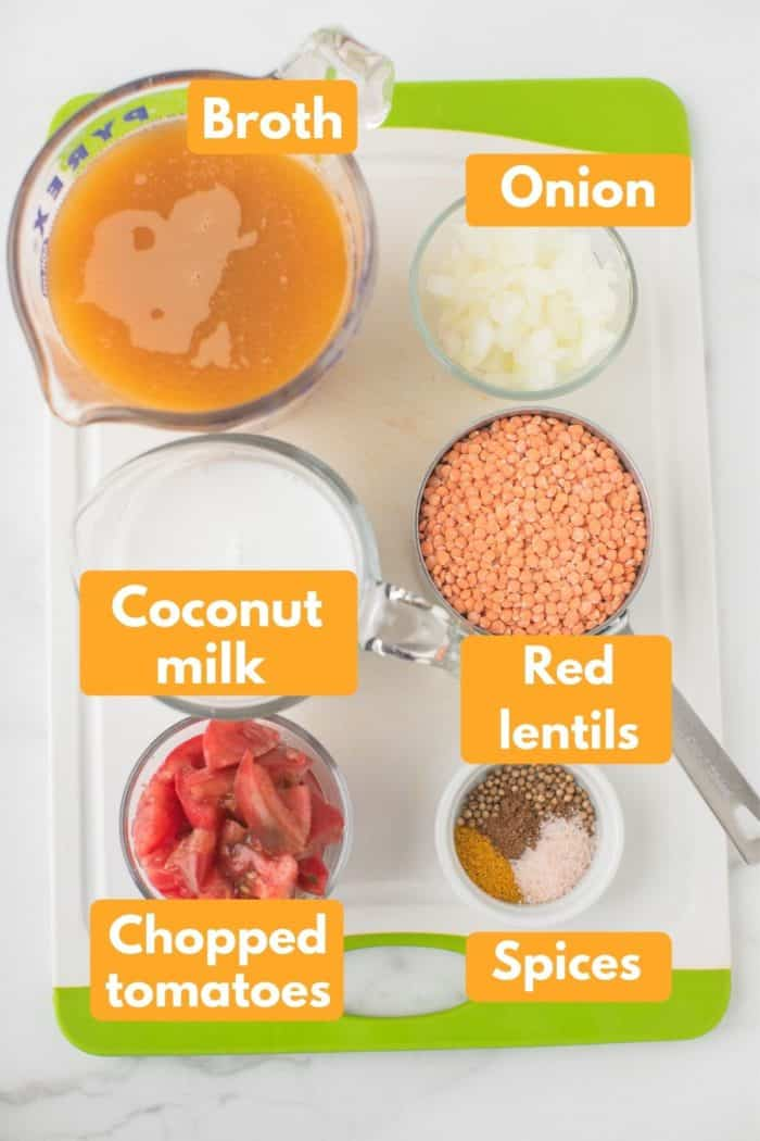 labeled photo with ingredients for instant pot dal