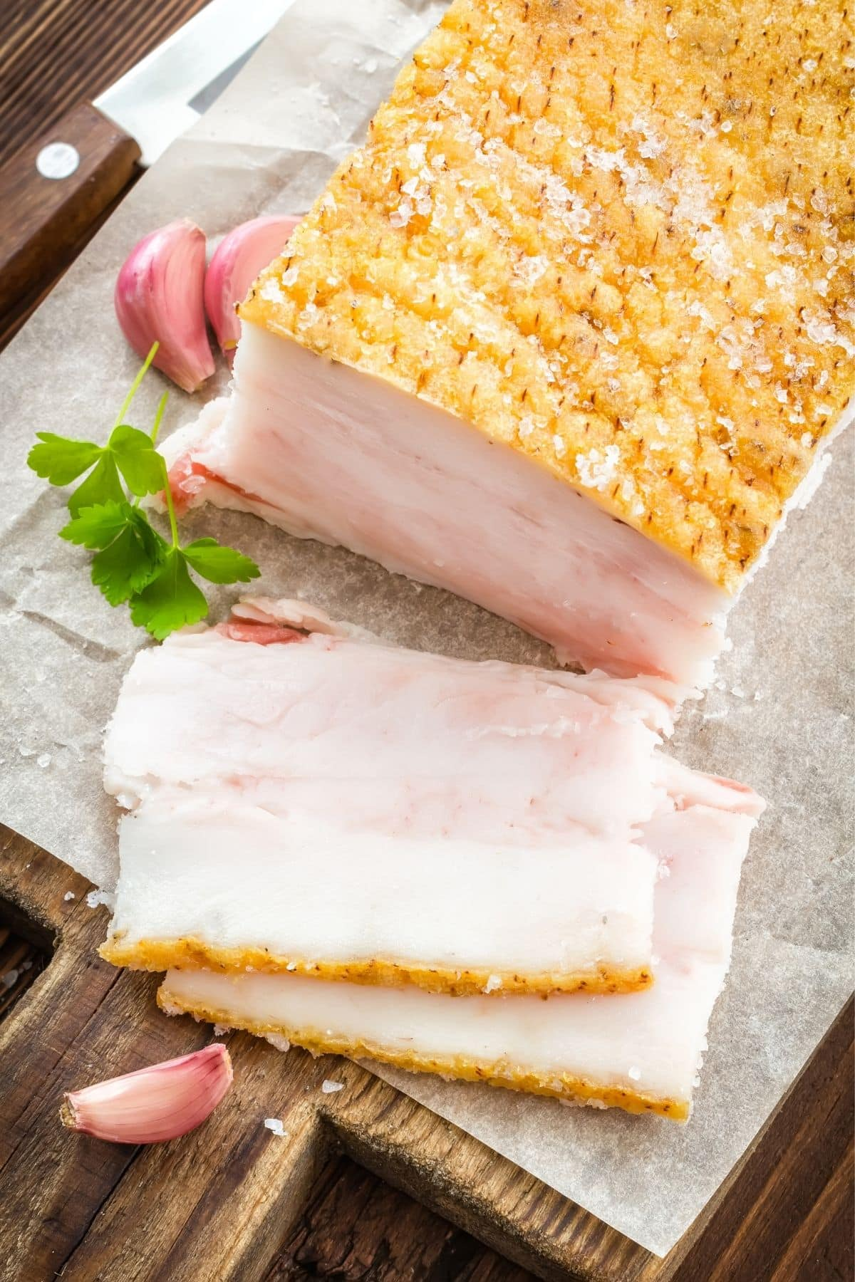 slab of bacon fat ready to be used in cooking