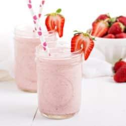 strawberry milkshake in two jars