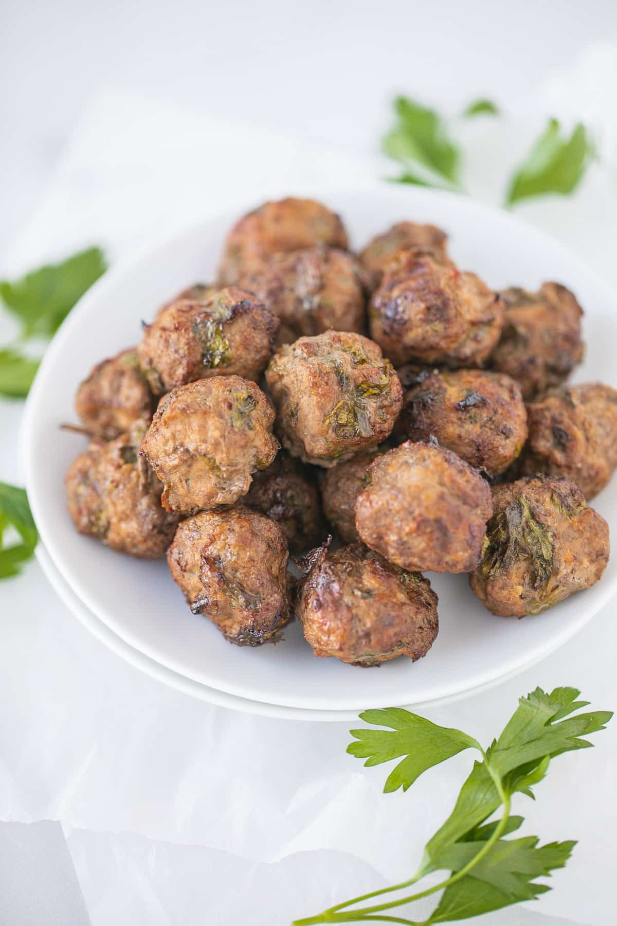 cooked meatballs on a plate ready to eat