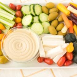 beautiful hummus vegetable platter