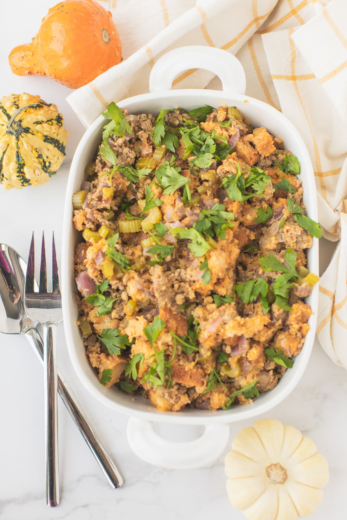 instant pot sausage stuffing served in a white platter