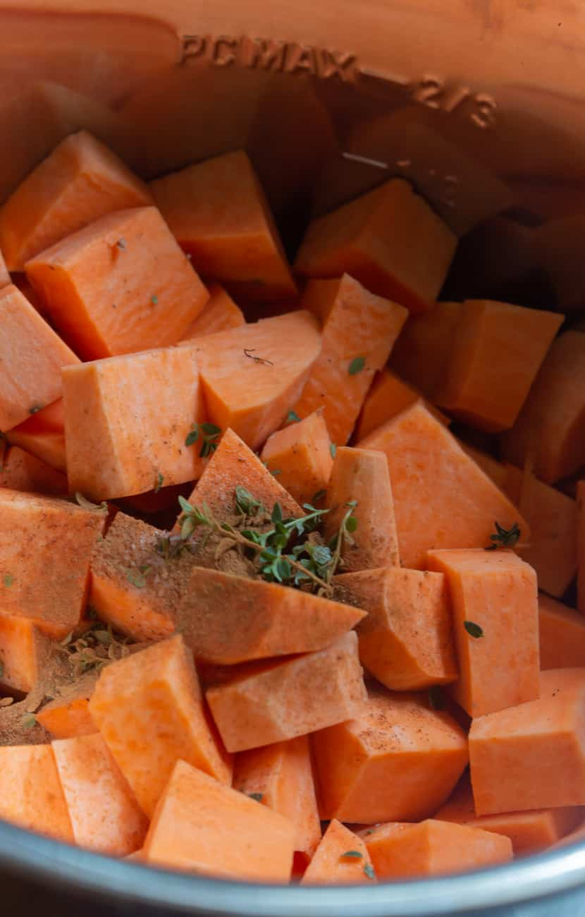 ingredients for instant pot mashed sweet potatoes in the pot