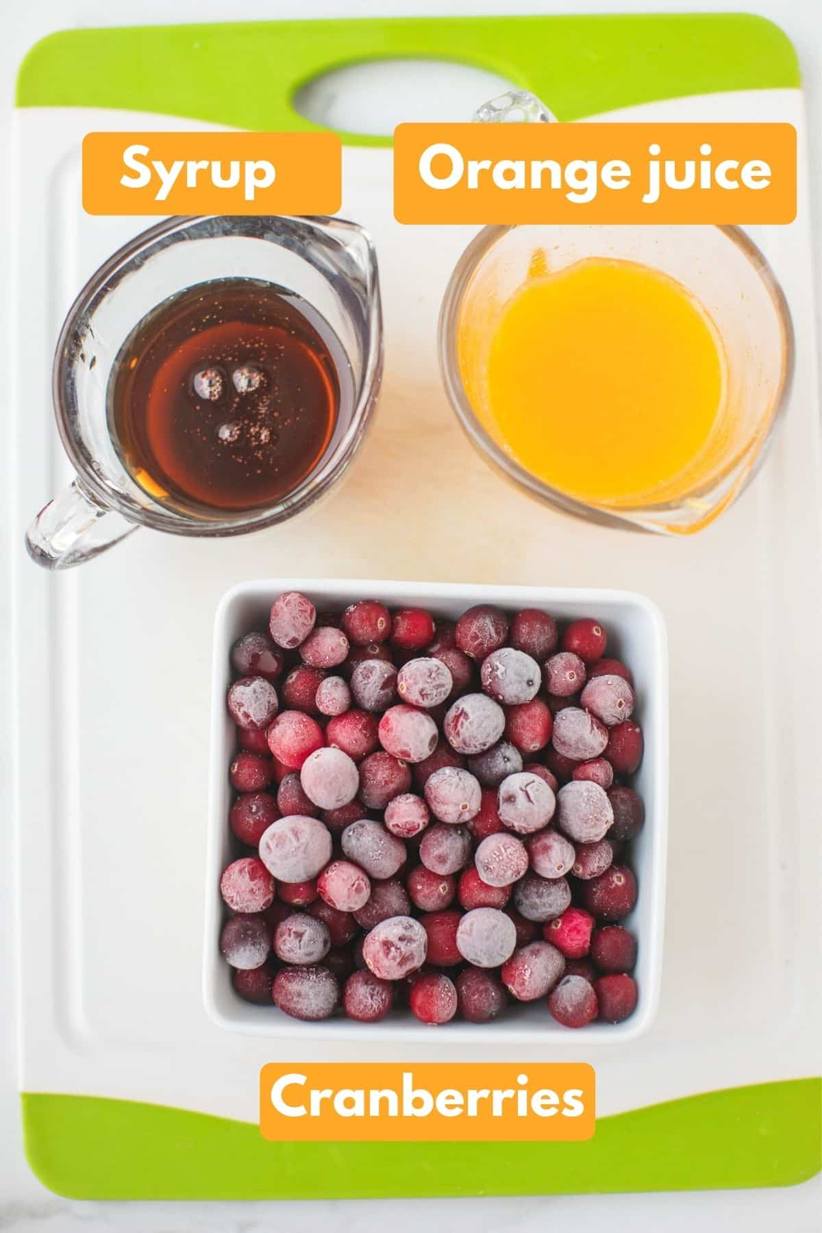 labeled photo with ingredients for instant pot cranberry sauce