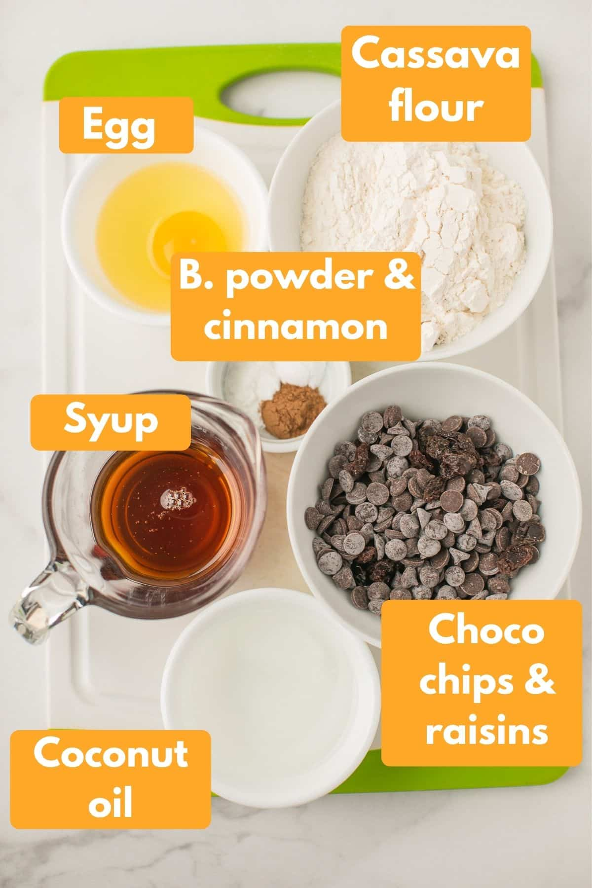 labeled photo with ingredients for cassava flour cookies