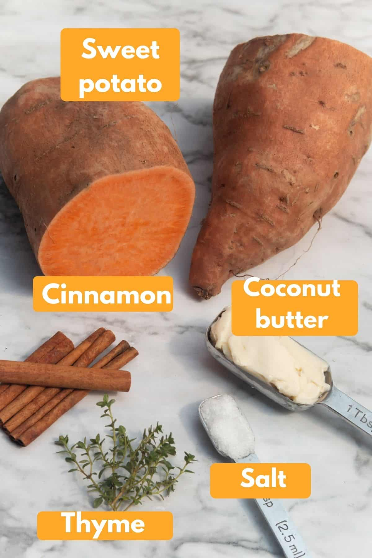 labeled photo with ingredients for instant pot mashed sweet potatoes
