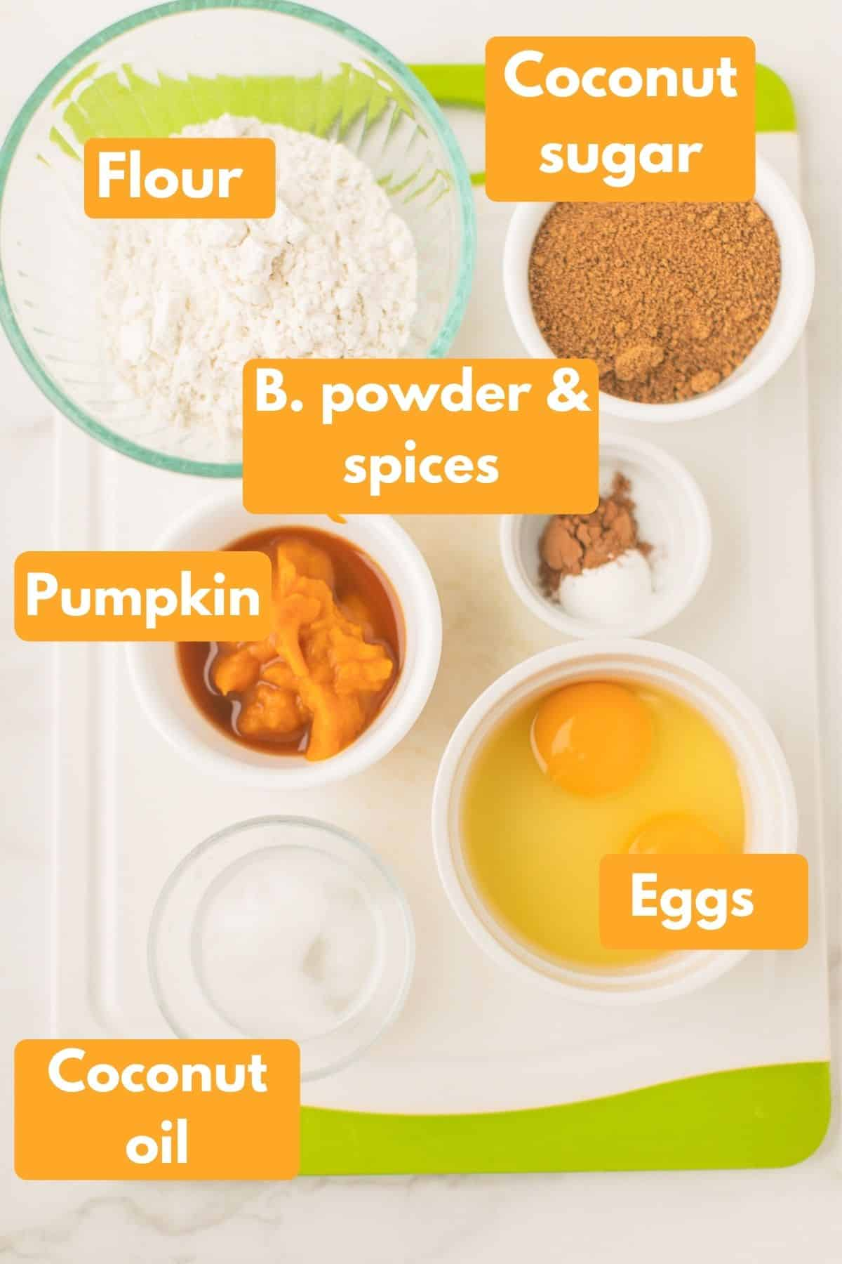 labeled photo with ingredients for instant pot pumpkin spice cake