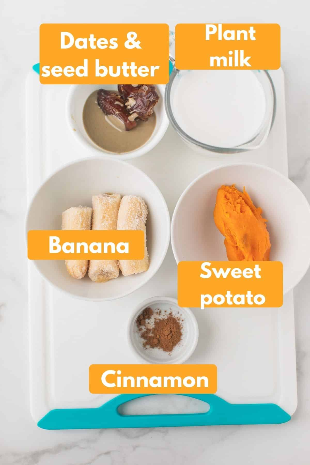 labeled photo with ingredients for sweet potato smoothie