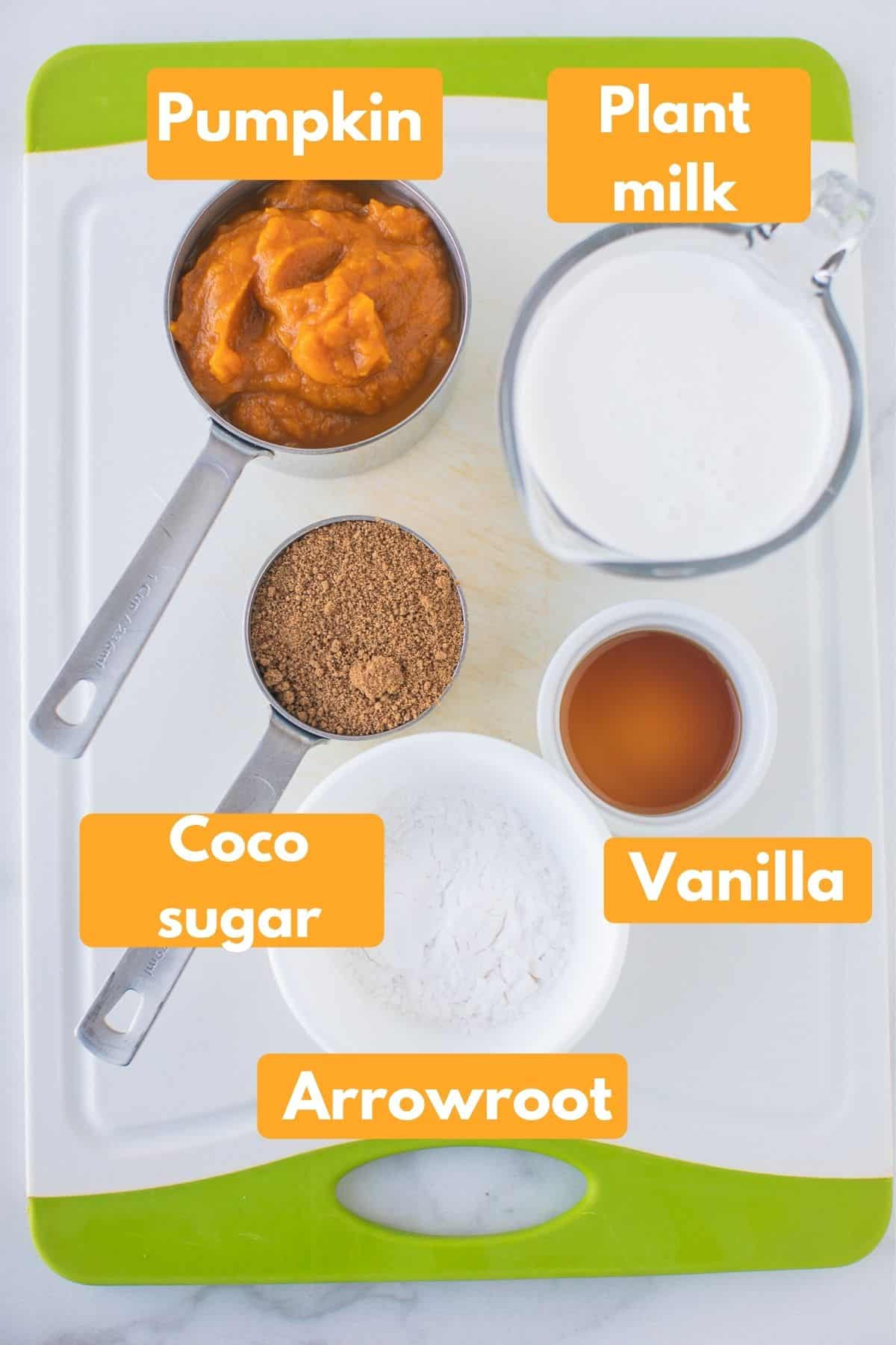 labeled photo with ingredients for vegan pumpkin pudding