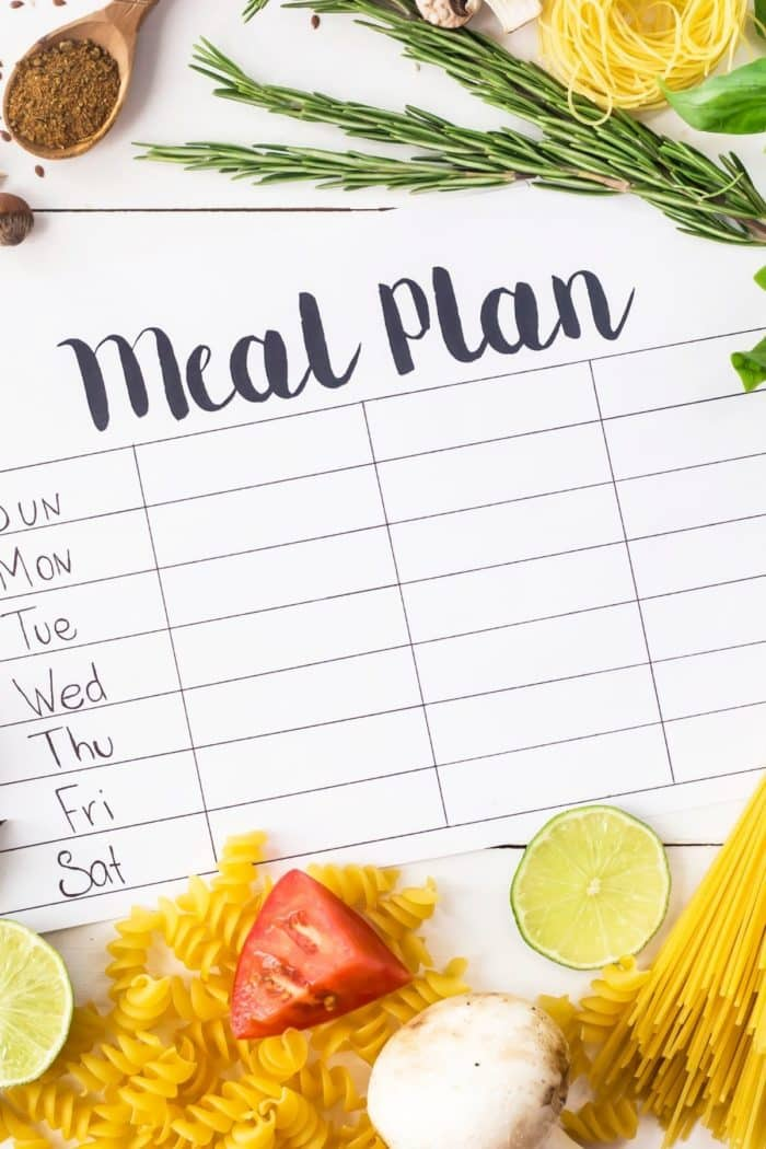 notebook with lines for a meal plan