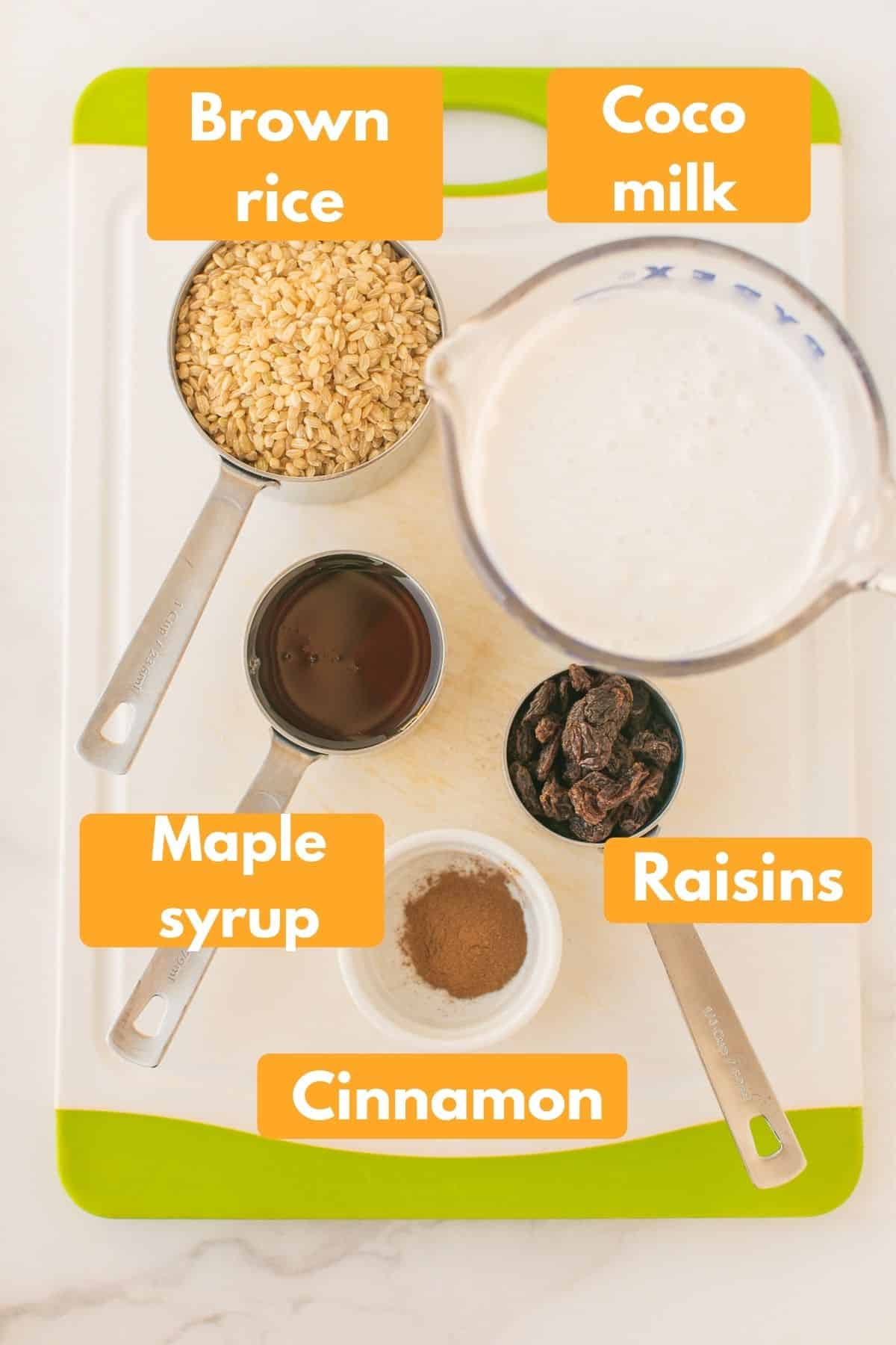 photo with ingredients for instant pot brown rice pudding