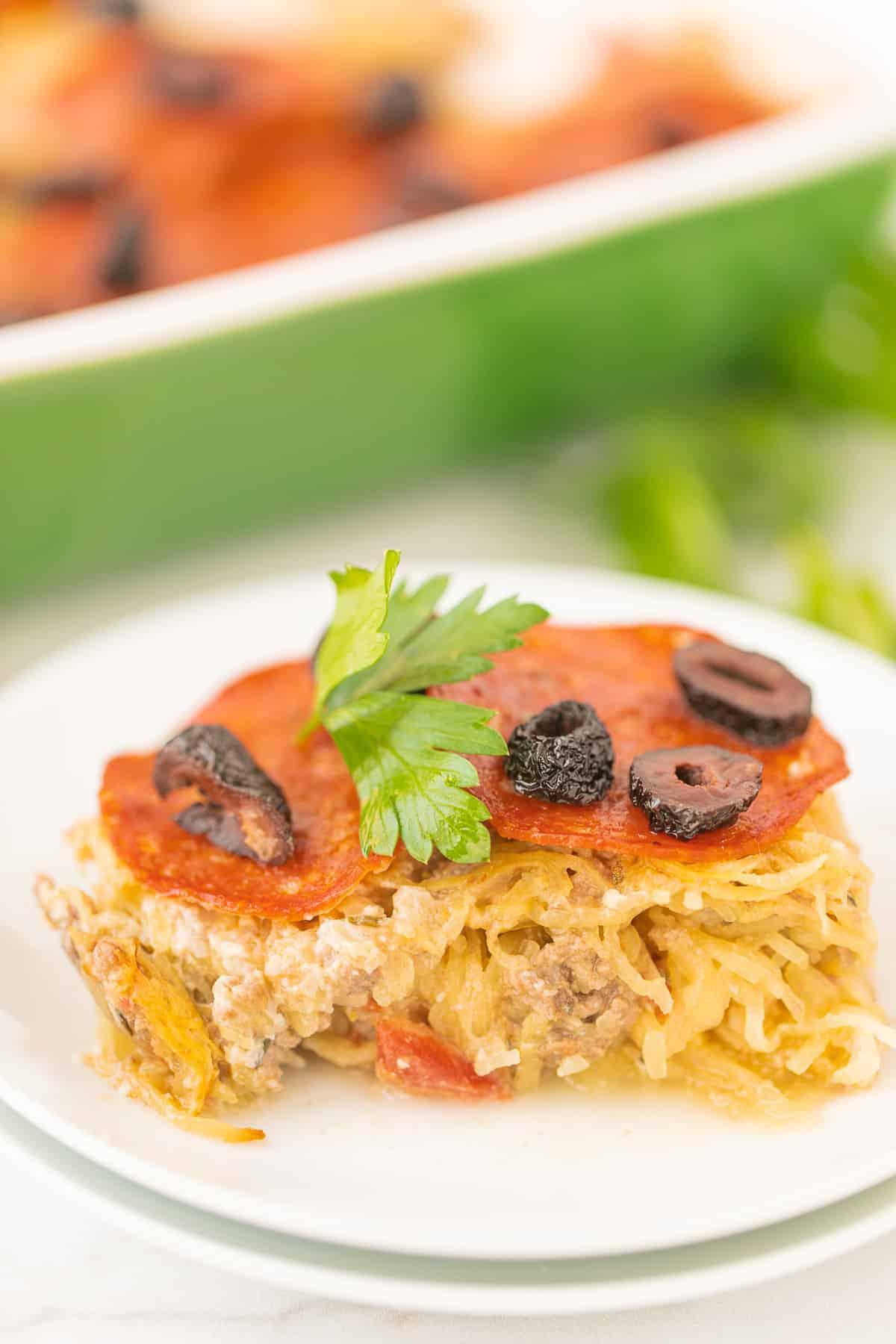 slice of cooked spaghetti squash casserole