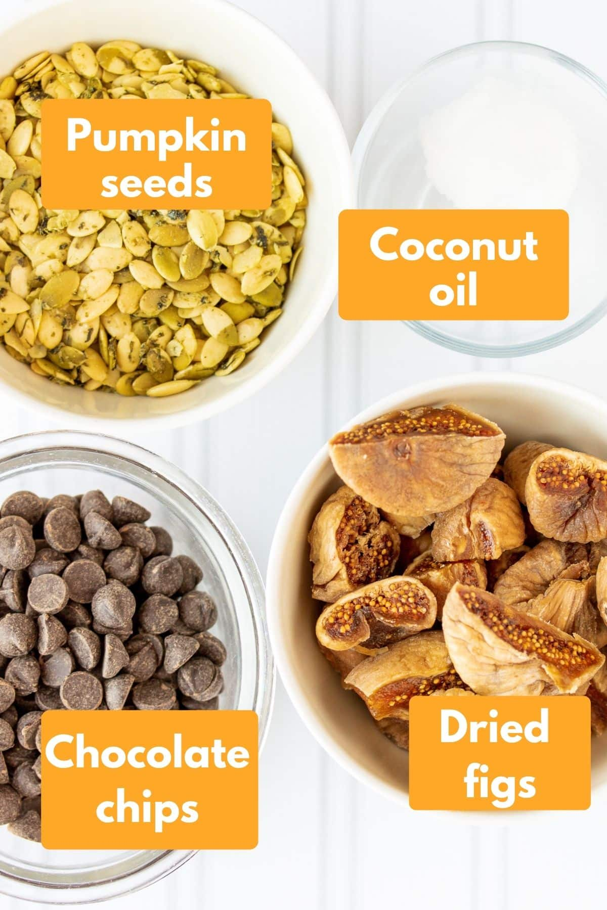 labeled photo with ingredients for chocolate fig bars
