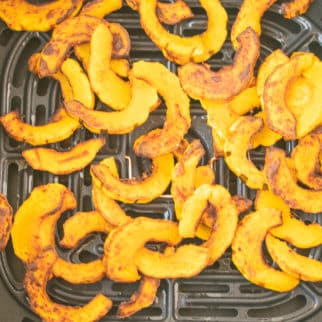 sliced delicata squash cooked in an air fryer