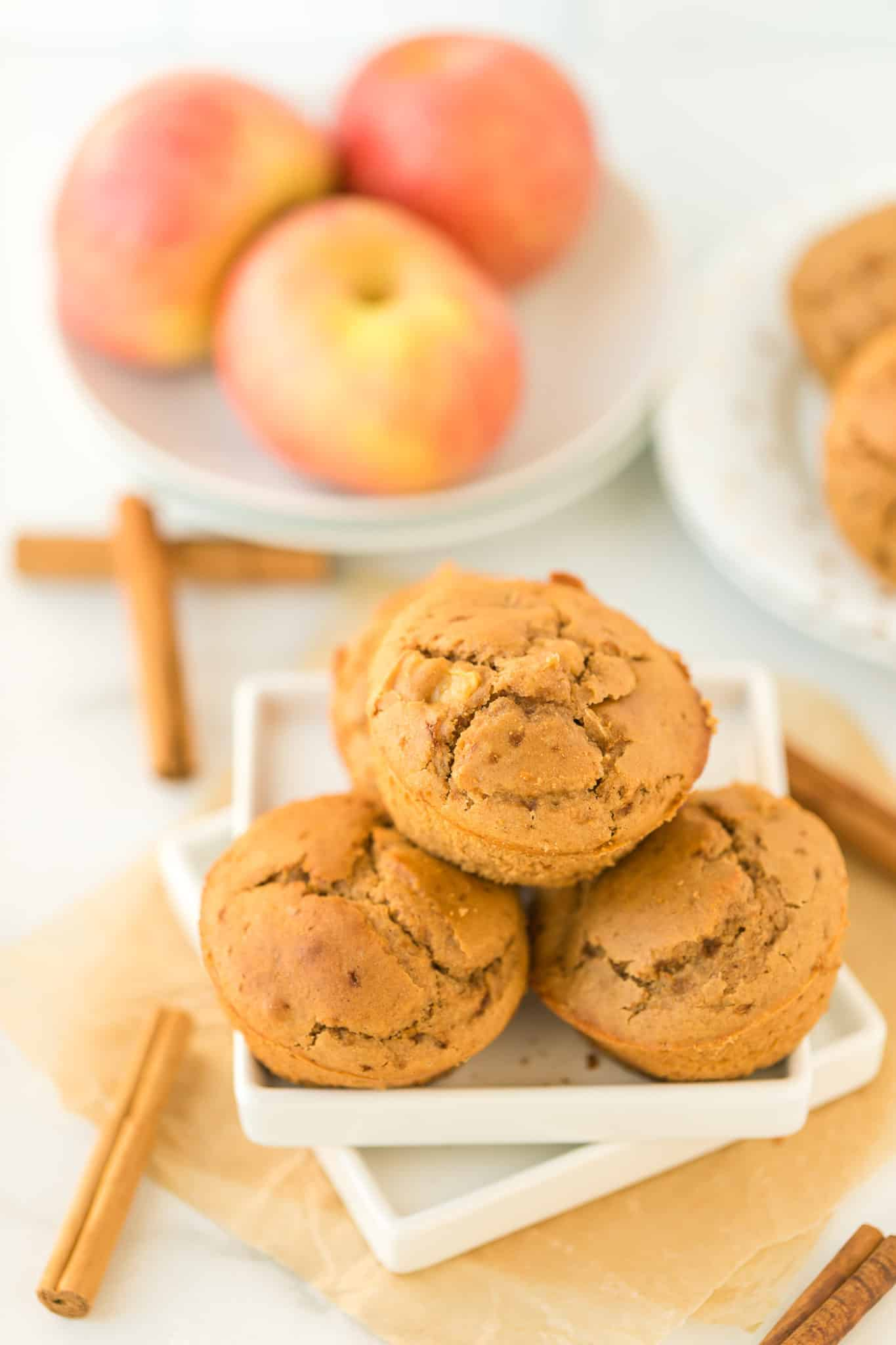 baked apple cider muffins on a plate ready to be served
