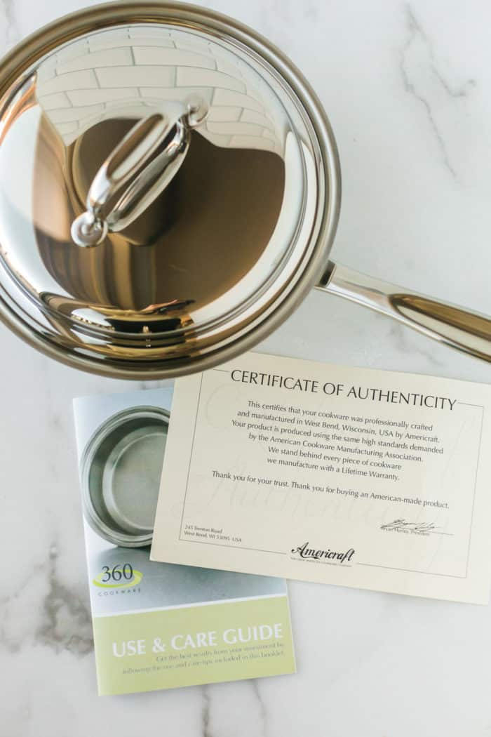 stainless steel pot with certificate of authenticity from 360 Cookware