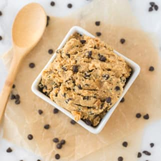 bowl of chickpea cookie dough with chocolate chips