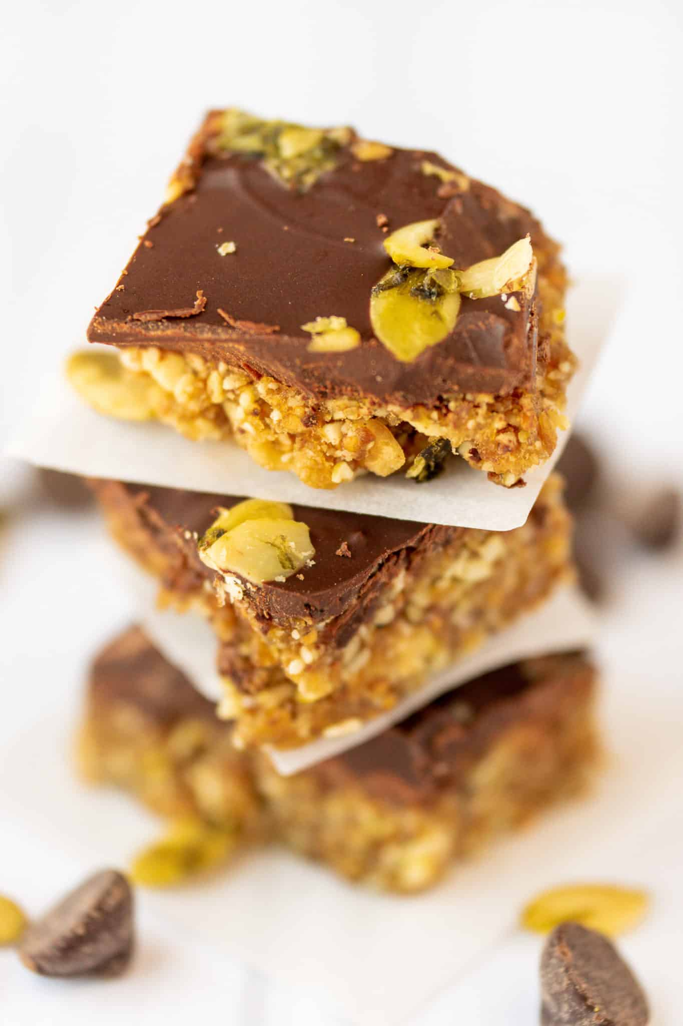 chocolate fig bars stacked on top of each other ready to be eaten