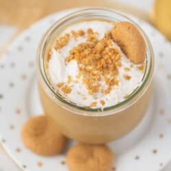 gingerbread smoothie served in a jar with cookies