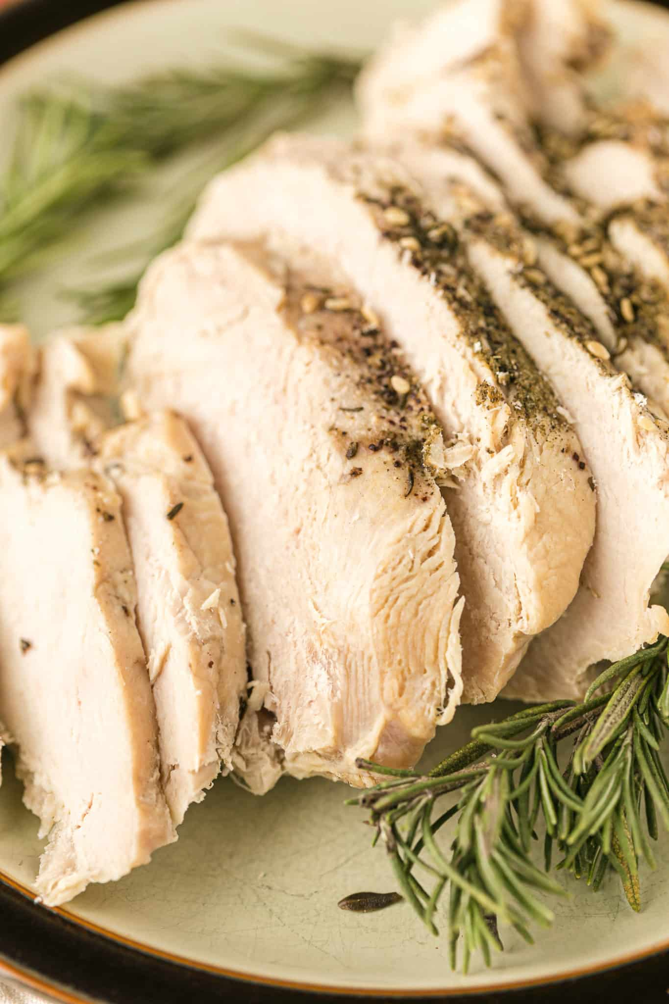 sliced boneless turkey breast served on a platter