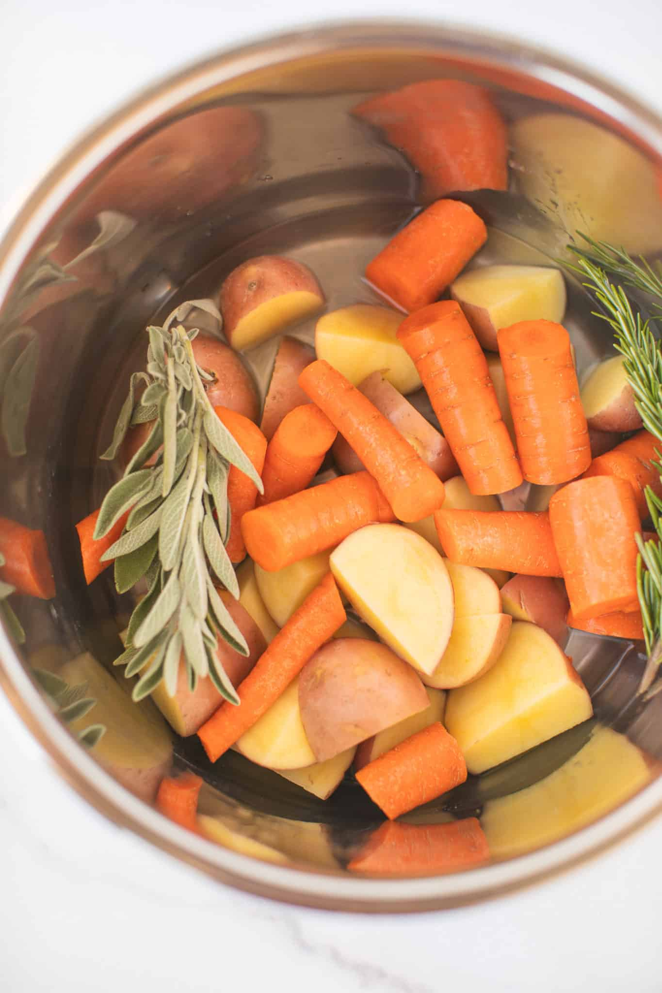 carrots, potatoes, and fresh herbs in the bottom of an instant pot