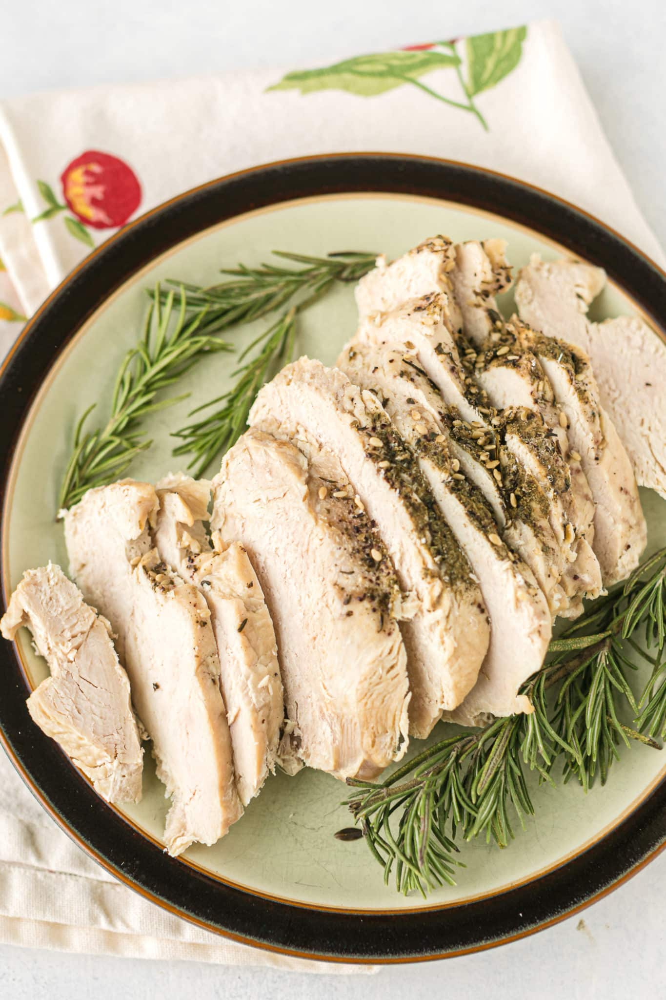 sliced boneless turkey breast ready to be served