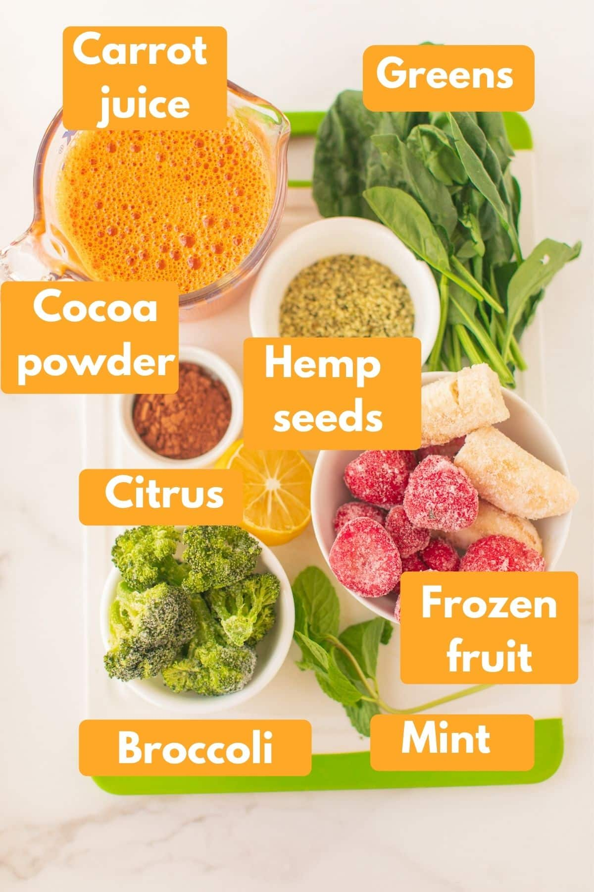 labeled photo with ingredients for anti cancer smoothie