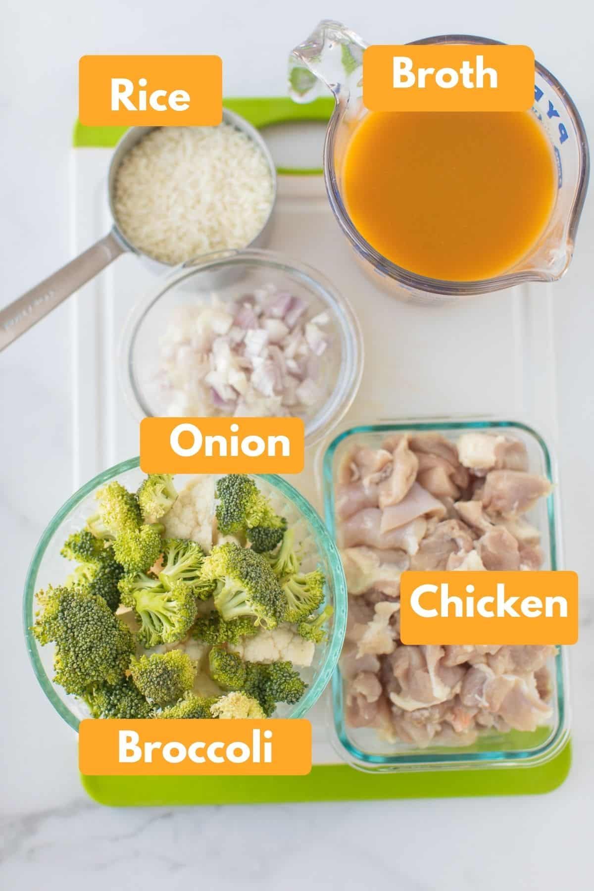 labeled photo with ingredients for chicken rice casserole