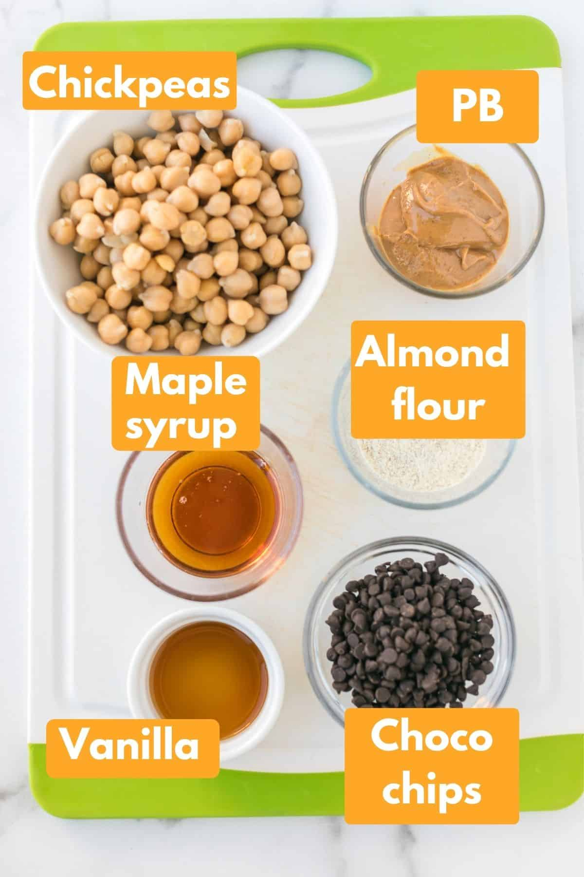 labeled photo with ingredients for chickpea cookie dough