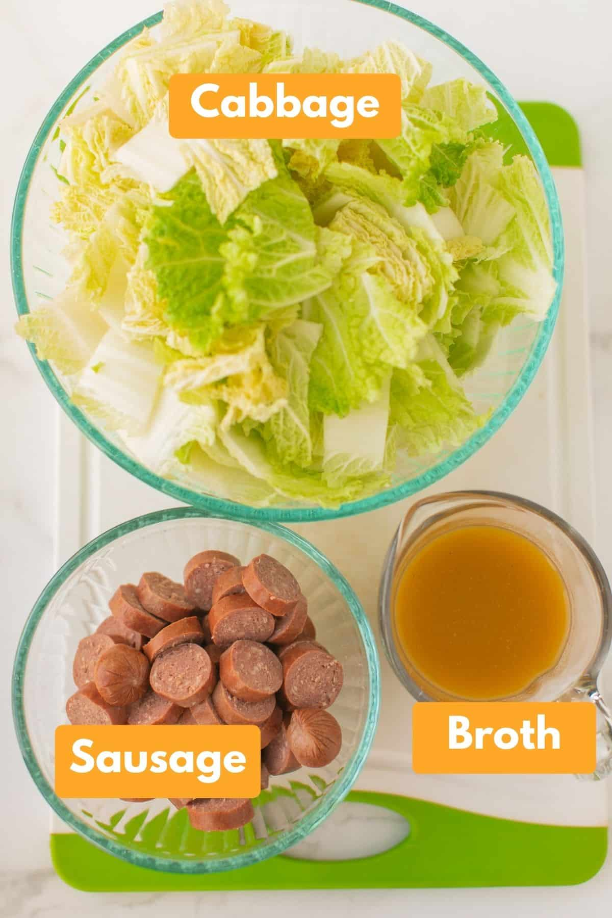 labeled photo with ingredients for instant pot cabbage and sausage