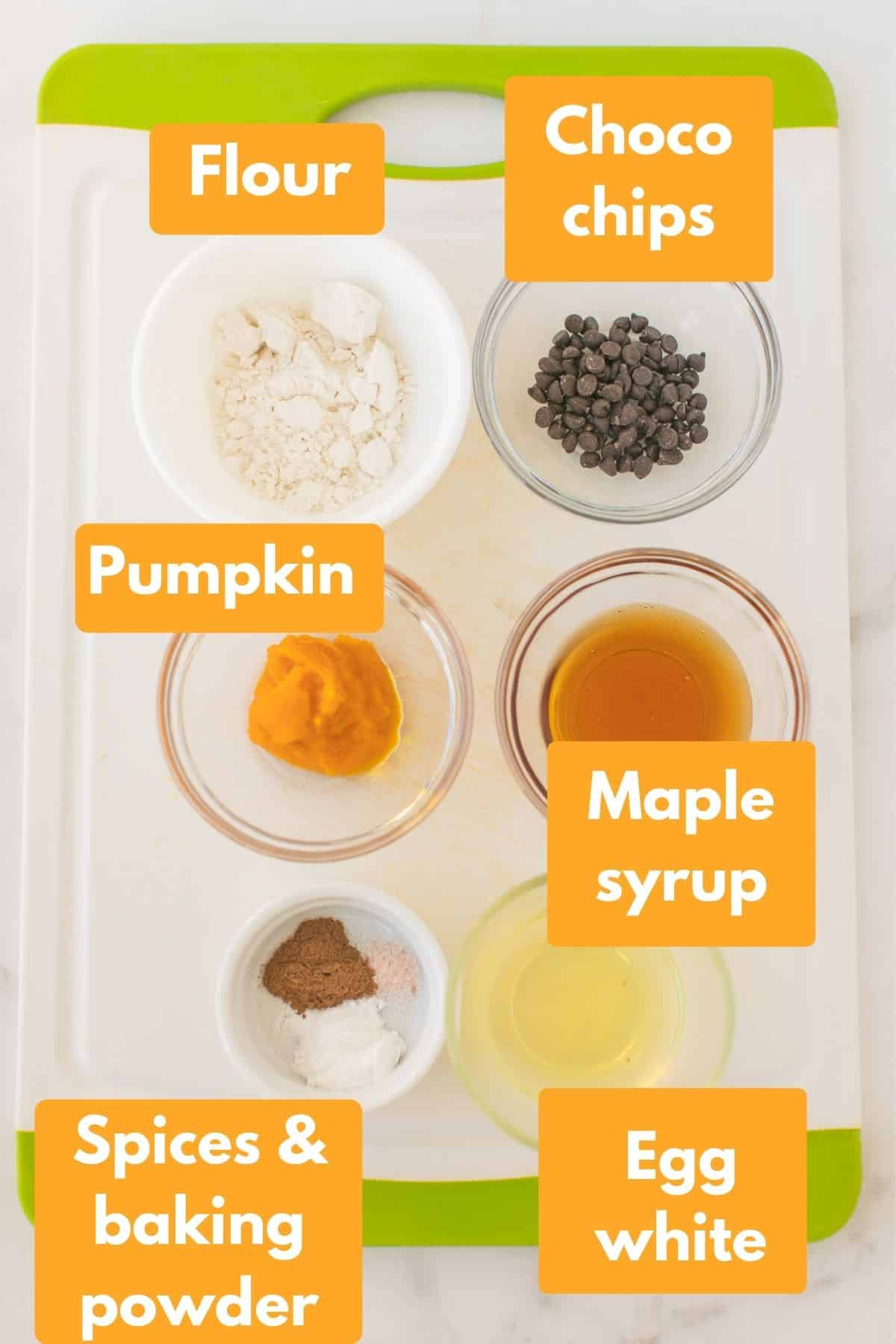 labeled photo with ingredients for pumpkin spice mug cake