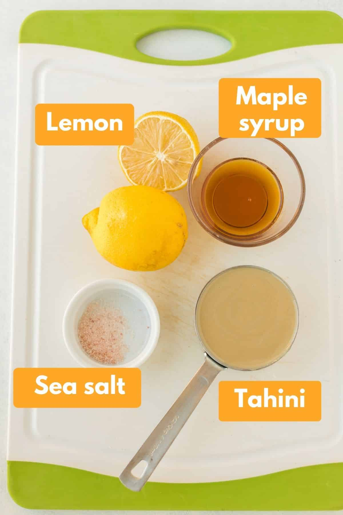 labeled photo with ingredients for tahini sauce