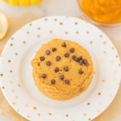 single serving pumpkin chocolate chip mug cake on a plate