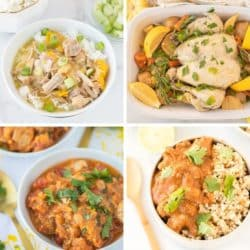 collage of instant pot chicken recipe photos