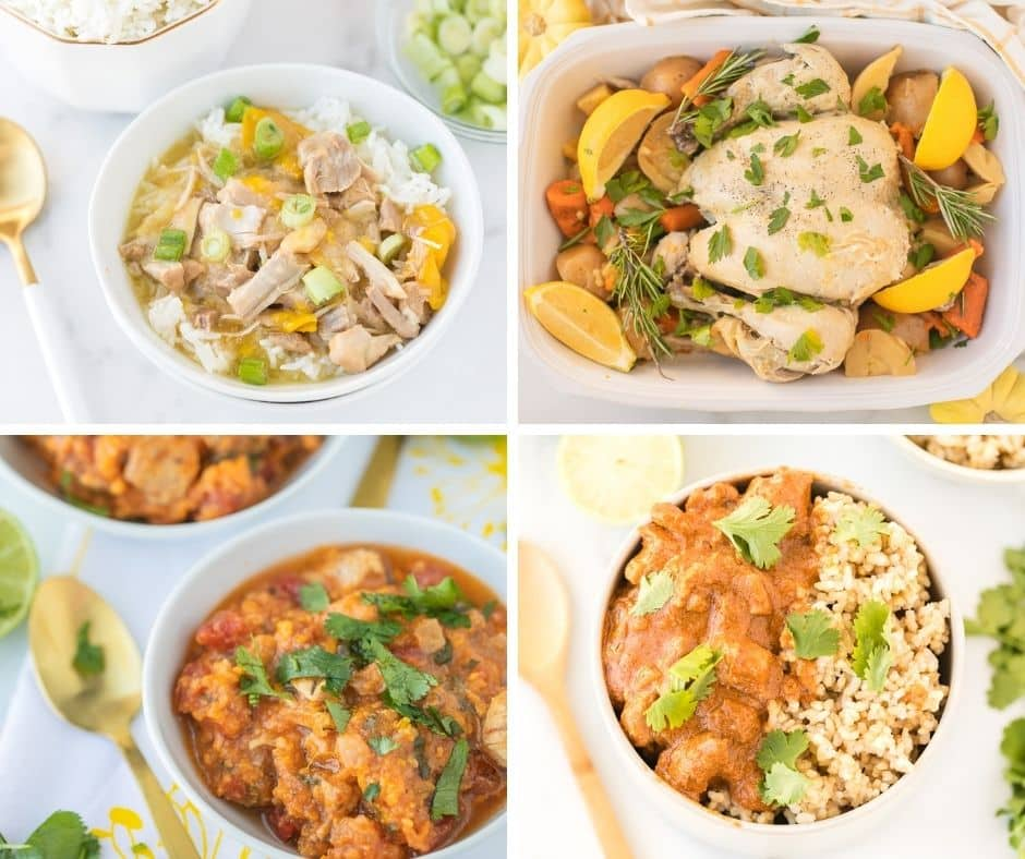 collage of pictures featuring instant pot chicken recipes